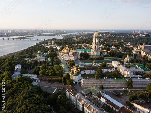 Spoed Foto op Canvas Kiev Aerial panoramiс top view of Kiev Pechersk Lavra churches on hills from above, cityscape of Kyiv city