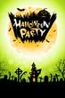Leinwandbild Motiv Halloween Party Poster with Haunted House