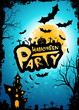 Leinwandbild Motiv Halloween Party Background with Moon and Haunted House