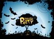 Leinwandbild Motiv Halloween Party Background with Pumkins and Tree