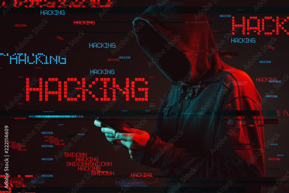 Fototapeta Computer hacking concept with faceless hooded male person