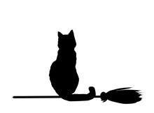 Silhouette Of Black Cat  Flying On Broom Isolated On White Backg
