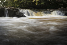 A Close-up Section Of The Falls Of Dochart In Killin In Scotland.
