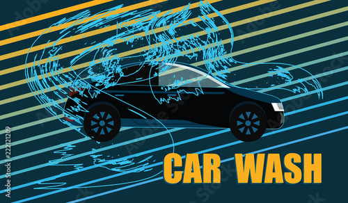 Car Wash Machine And Water Waves On An Abstract Dark Background