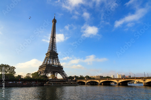 Fotobehang Parijs Beautiful view of the Eiffel tower at the river Seine in Paris, France