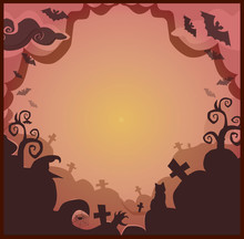 Halloween Border For Design With Spooky Items And Space For Text