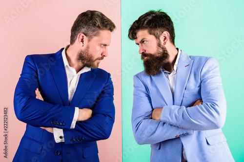 Tableau sur Toile Businessmen stylish appearance jacket pink blue background