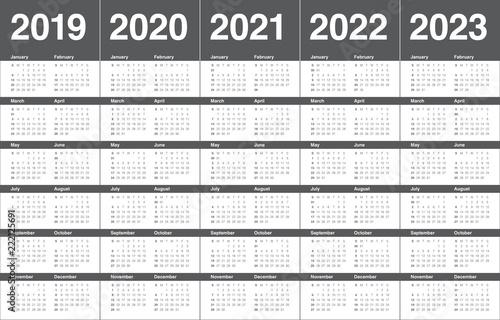 Fotografia  Year 2019 2020 2021 2022 2023 calendar vector design template