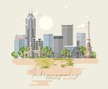 Indiana State. United States Of America. Postcard From Indianapolis. Travel Vector