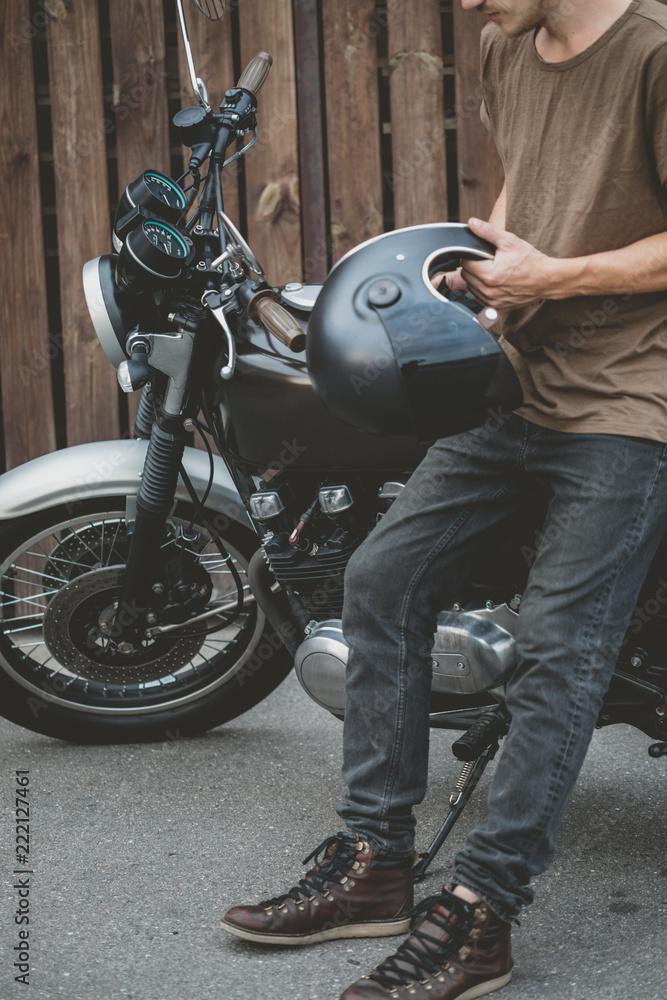 Rider Biker Wearing And On Sitting Handsome Guy Black Helmet QxrBoeWdC