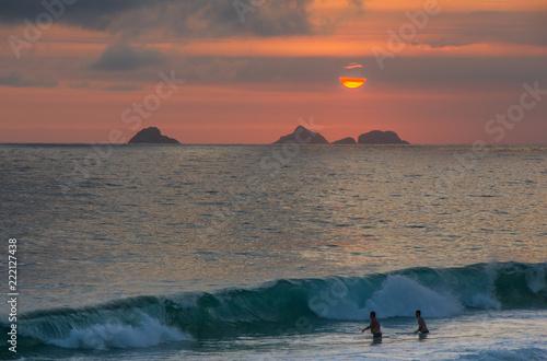 Sunset on the beach of Ipanema
