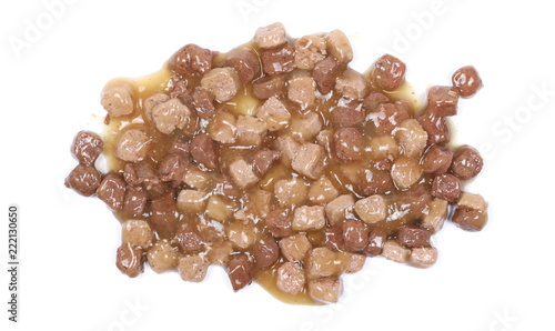 Cat food isolated on white background, top view