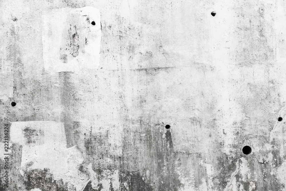 Fototapety, obrazy: Grungy gray concrete wall with white paint