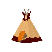 Digital Art Tribal Teepee, Isolated Campsite Tent. Boho Vintage America Traditional Native Ornament Wigwam. Indian Bohemian Decoration Tee-pee With Arrows And Feathers On White Background