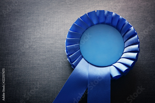 Blue award rosette with ribbons and copy space Wallpaper Mural