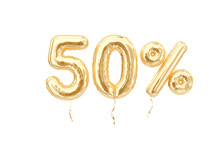 50 % Sale Banner Golden Flying...