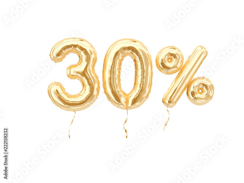 Papel de parede  30 % sale banner golden flying foil balloons on white