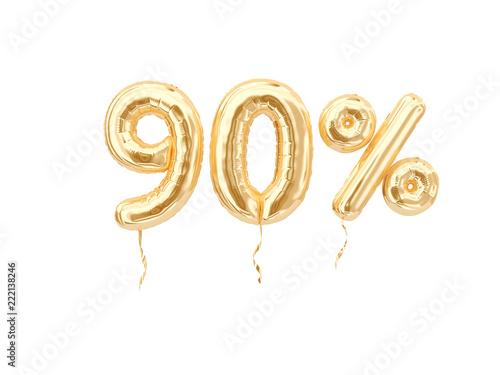 90 % sale banner golden flying foil balloons on white Canvas-taulu