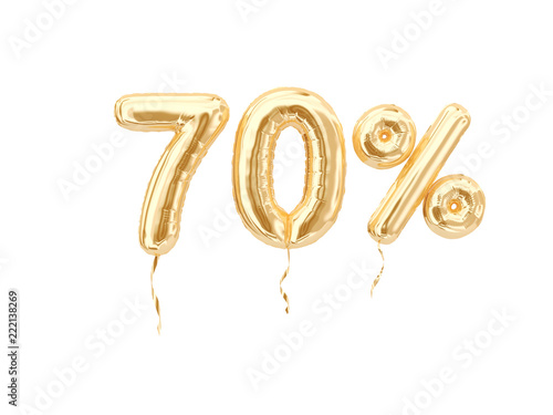 Fototapeta 70 % sale banner golden flying foil balloons on white