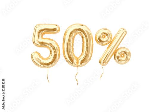 Photo 50 % sale banner golden flying foil balloons on white