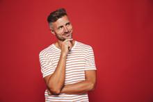 Attractive Man In Striped T-sh...