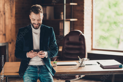 Classic elegant stylish smart cheerful confident bearded busines