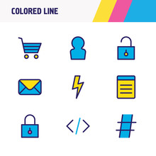 Vector Illustration Of 9 Annex Icons Colored Line. Editable Set Of Buying Cart, Code, Mail And Other Icon Elements.