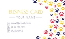 Pet Advertising Business Card Templates. Place For Text. Veterinary Clinic And Zoo Shop. Grooming. Paw Ornament