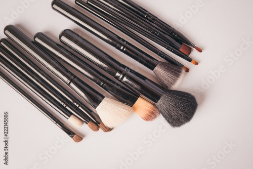 Set of brushes for make-up, toned. Beauty accessory.