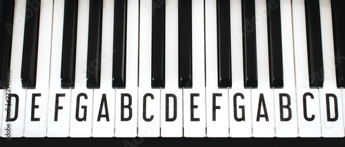 Top-down view of piano keyboard keys with letters of notes of the scale superimp Wallpaper Mural