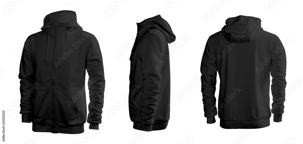 Fototapety, obrazy: Black men's sweatshirt with long sleeves and hood in rear and side views