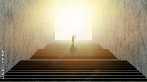 Businessman running up stairs, concept of ambition. Canvas Print