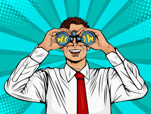 Wow Pop Art Face Of Surprised Man Open Mouth Holding Binoculars In His Hand With Inscription Wow In Reflection. Vector Illustration In Retro Comic Style.