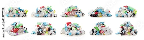 Collection of garbage dump isolated on a white background Wallpaper Mural