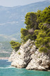 close-up view of the protruding rock in the sea in the Park Milocer near Budva, Montenegro