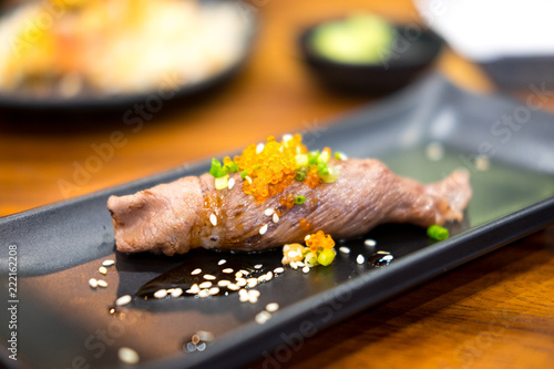 Grilled Wagyu beef sushi with flying fish roe