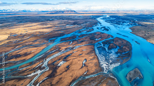Photo  Aerial view and top view river in Iceland