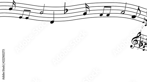 Fotografie, Obraz  Treble clef and musical notes on a white background. Design.