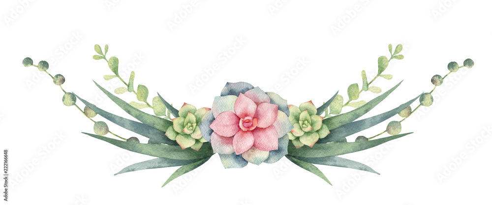 Fototapeta Watercolor vector wreath of cacti and succulent plants isolated on white background.