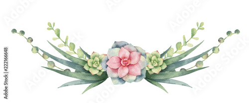 Fototapeta Watercolor vector wreath of cacti and succulent plants isolated on white background. obraz