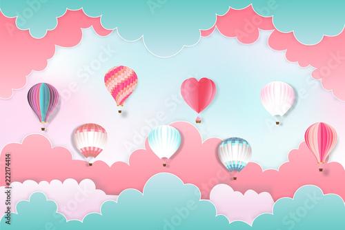 kolorowy-goracego-powietrza-balony-na-pastelowym-nieba-tle-jako-projekt-papierowa