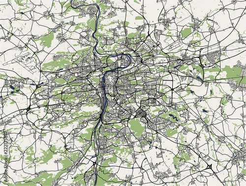 Fotomural map of the city of Prague, Czech Republic