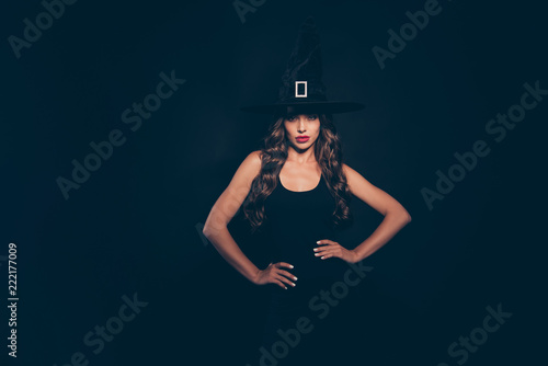 Canvas Print Portrait of attractive, pretty, dreamy, charming, lovely curly b