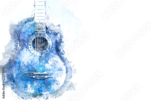 Abstract blue Acoustic Guitar in the foreground Close up on Watercolor painting background Canvas-taulu