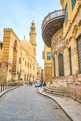 Landmarks of El-Muizz street in Cairo, Egypt