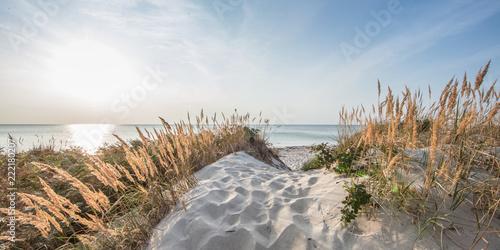 Spoed Foto op Canvas Zonsondergang Urlaub am meer