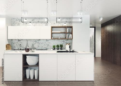 Fototapeta Nowoczesny I Elegancki Apartament O Otwartym Planie Z