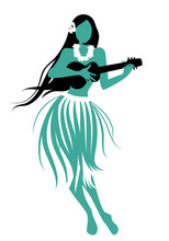 Silhouette Of Hawaiian Girl We...