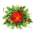 Red poinsettia flower Christmas illustration