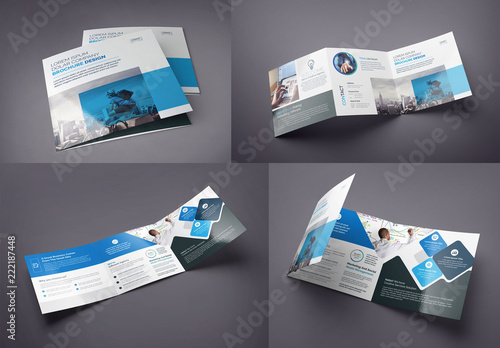 blue and black square tri fold brochure layout buy this stock